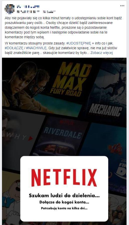 Współdzielenie kont Netflixa na facebookowej grupie Netflix Polska