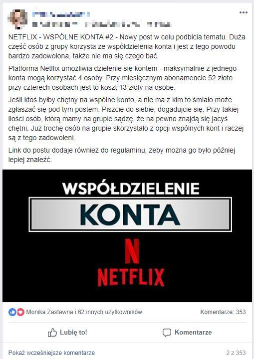 Współdzielenie kont Netflixa na facebookowej grupie Serialomaniak
